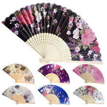 Retro Style Silk Chinese Fan Folding Hand Held Bamboo Prints Japanese Series Vintage Handmade