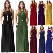 Dower me Summer dress Black Purple Red Blue O-neck Sleeveless loose Elegant floor length Casual long Plus size dresses Y002