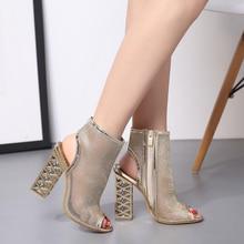 Sexy Gladiator Sandals Heel Zip-Shoes Crystal Golden-Bling Peep-Toe Women Autumn Pu