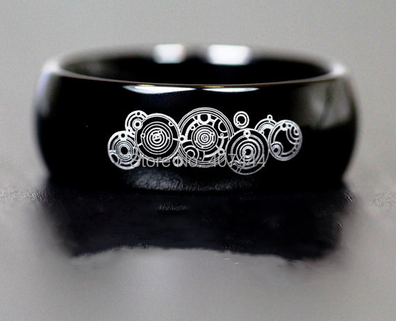 Free Shipping YGK JEWELRY Hot Sales 8MM Black Dome Doctor Who Time New Mens Tungsten Carbide Wedding Ring