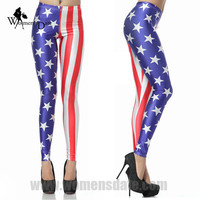 WomensDate Top Sale Winter Women Leggings Elastin Breathable Slim Hip Leggings Pants Print American Flag Sexy Skinny Legging