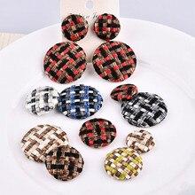 England plaid Korea color hemp woven round bag buckle DIY earrings hair rope brooch jewelry material bag