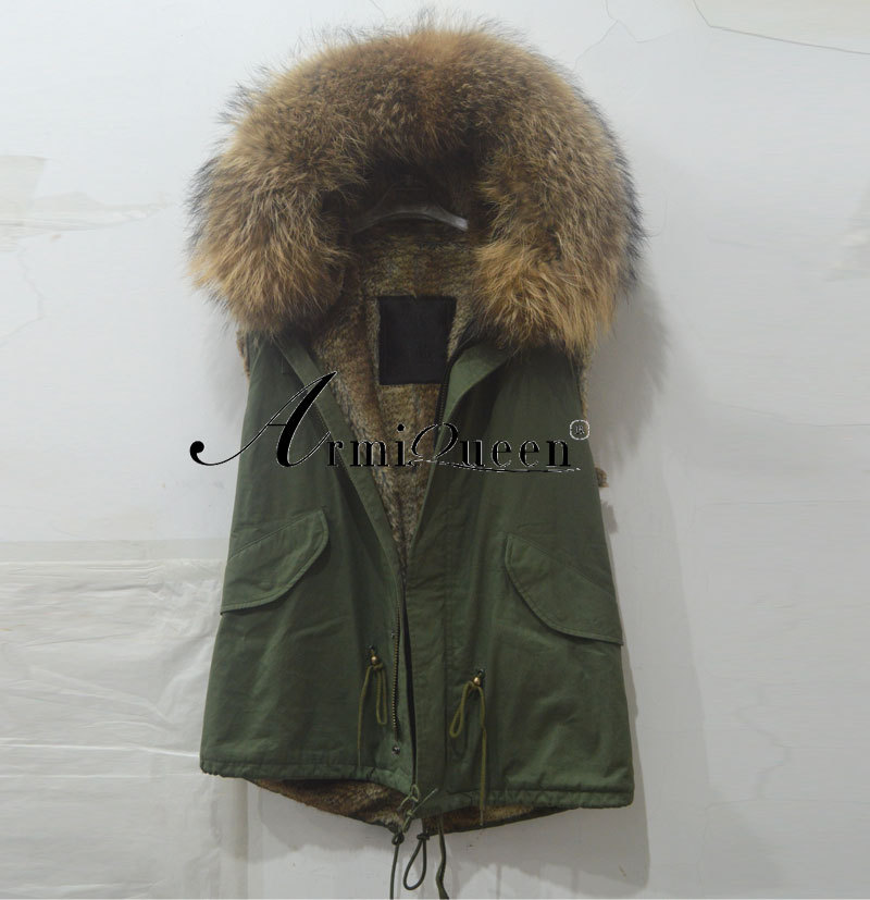 Italy Name Brand vest Designer Fashion Mr Mrs Jackets Real Fur Coat