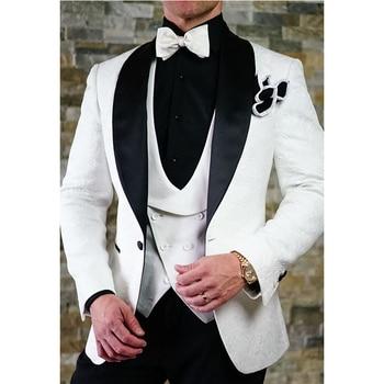 Custom Made White Pattern Wedding Suits For Men Slim Fit 3 Piece Tuxedo Prom Groom Men Suit Blazer (Jacket+Pants+Vest) FA679