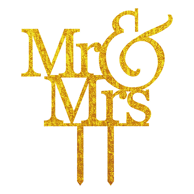 Hot Sale Mr & Mrs Akryl Cake Flag Toppers Guld Silver Svart Vit För Bröllop & Anniversary Party Cake Decor
