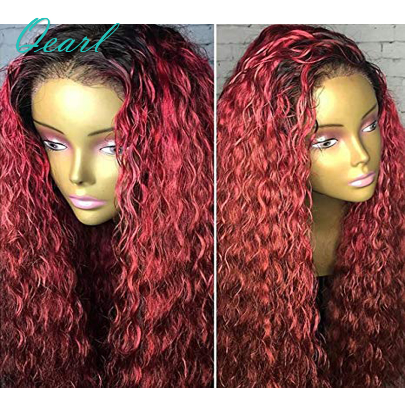 Qearl Hair 130% Density Brazilian Curly Lace Front Human Hair Wigs Remy Hair Ombre 1B/99j Burgundy Lace Wigs With Baby Hair ...