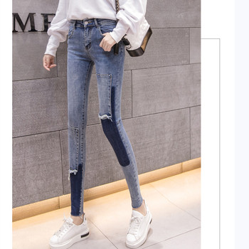 2019 spring summer womens  splicing color pencil pants fashion pachwork jeans Fit panelled S-XL 6618