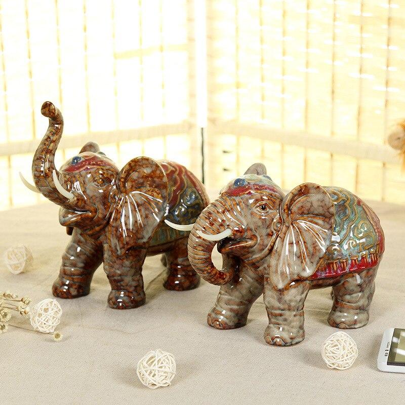 Ceramic Mascot Ceramic Elephant Home Decor Home Furnishing Creative High Grade Furniture Lucky Elephant