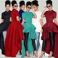 2018 Autumn Women High Low Dress Layers Ruffled Night Party Wear Irregular Length Normal Dresses