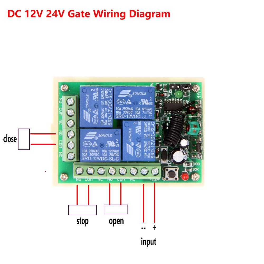 Dc 12v 24v 4 Ch 4ch Rf Wireless Remote Control Motor Light Door 12 Vdc System Wiring Diagrams Switch Systemwaterproof Transmitter Receiver315 433 Mhz In Switches From Lights