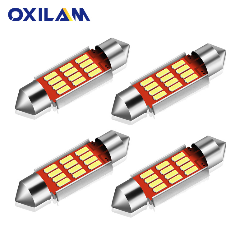 4Pcs C5W 36mm Festoon <font><b>LED</b></font> 4014 12SMD Dome Light Car <font><b>Interior</b></font> Lighting for <font><b>BMW</b></font> E46 1998-2005 <font><b>E60</b></font> 2008-2010 12V White Crystal Blue image