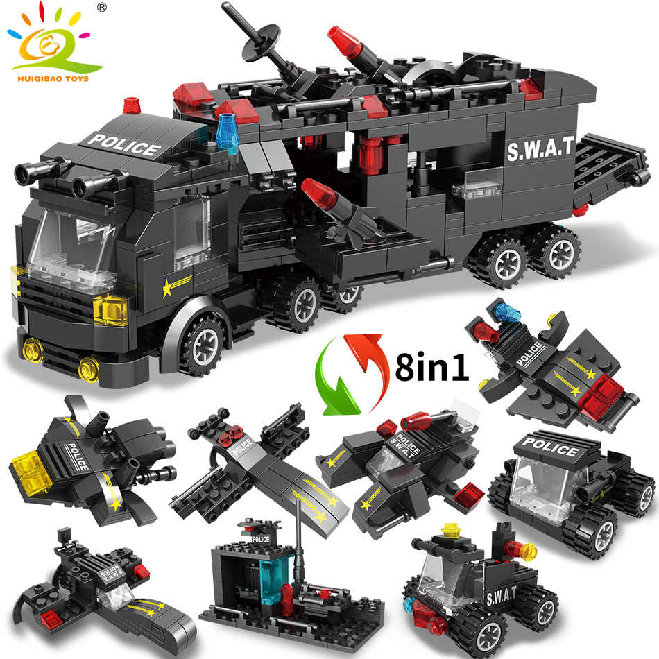 HUIQIBAO 418PCS 8in1 עיר SWAT משטרת פיקוד משאיות אבני בניין שוטר רכב מסוק דגם לילדי