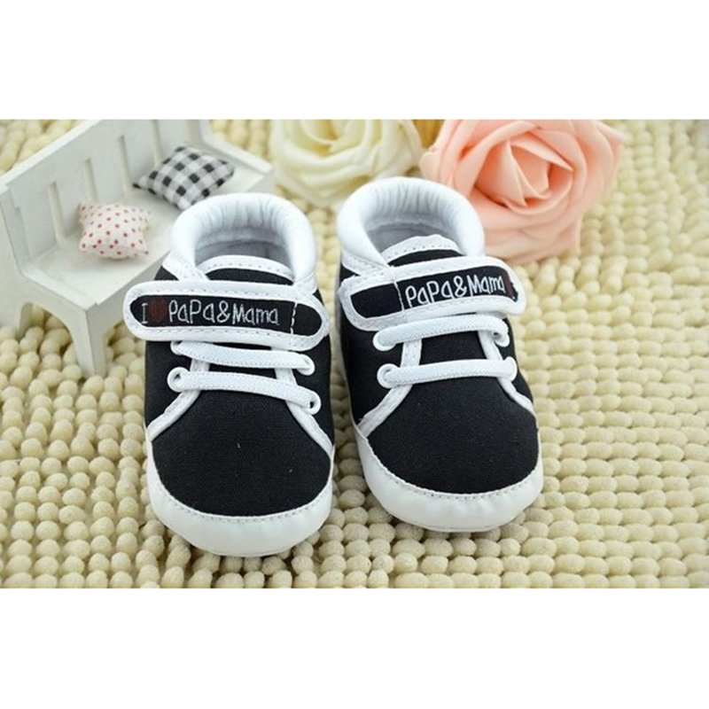 ABWE Best Sale Newborn Infant Baby I Love Papa Mama Soft Sole Crip Sport Shoes Sneakers Casual 9~12 Months 13cm black