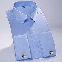 French Cufflink Shirts Men 2017 Brand New Solid Color Wedding Shirts 100 Cotton Tuxedo Shirt Casual