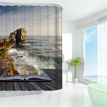 Étanche Rideau De Douche 3D Mer Paysage Paysage De Bain Rideau pour Salle De Bains Décoration Avec Crochets