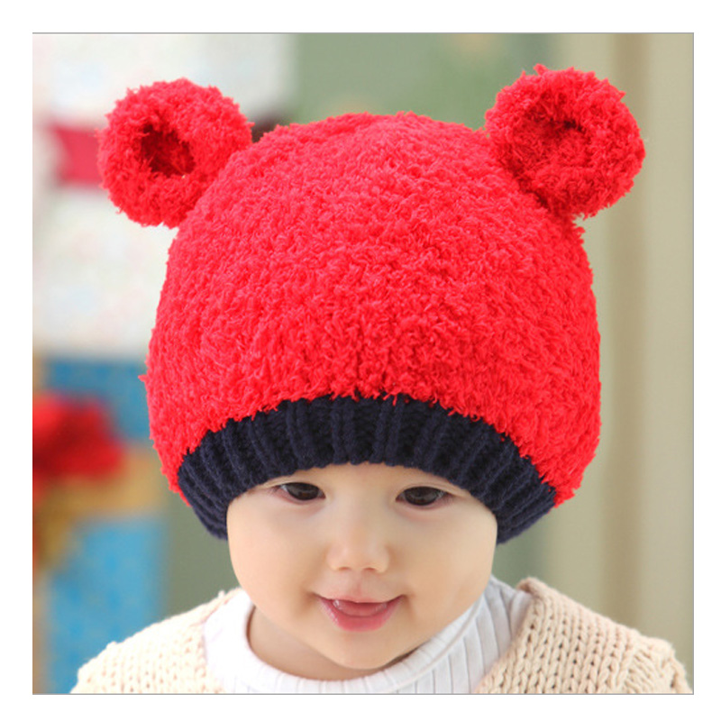 Winter bear cartoon ear muff hat costume crochet baby hat for Girls Boys Headband Knitted baby cap All For Children's Clothing