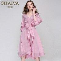 Brand High Quality Autumn Summer Korean Style Sexy V Dress Striped Pink Blue Stripes Bow Dresses