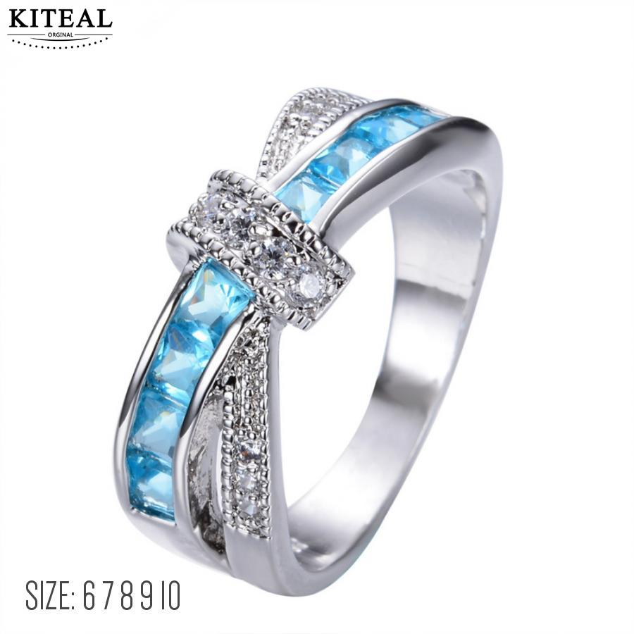 KITEAL Hot Selling Silver Plated Multicolor Bow-knot Zircon Luxury Princess Women Wedding Engagement Cross Finger Ring