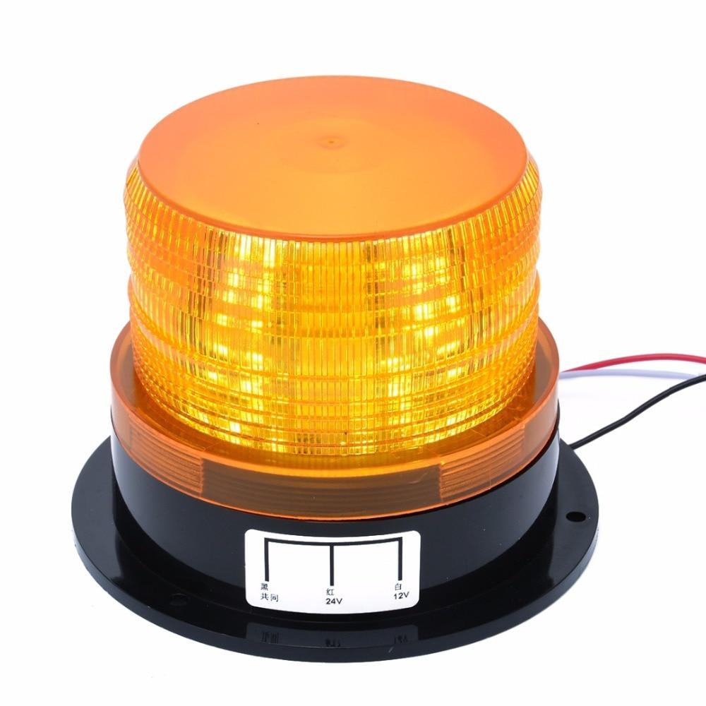 12V-24V Car LED Flashing Strobe Beacon Emergency Warning Alarm Flash Light Lamp Amber Common Car Truck Auto(no sound)