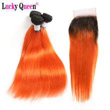 Lucky Queen Hair Peruvian Straight Bundles With Closure Remy 1B/Orange Ombre Human 3/4 Lace