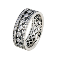 Original Vintage Fascination with Clear CZ Ring 925 Sterling Silver Rings Compatible With European Famous Brand Jewelry