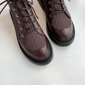 Image 5 - ALLBITEFO en cuir véritable + tricot à talons bas femmes bottes confortables bottines pour femmes automne filles chaussures femmes talons