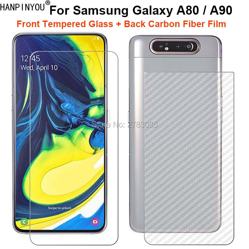 """For Samsung Galaxy A80 / A90 6.7"""" 1 Set = Soft Back Carbon Fiber Film +Ultra Thin Clear Tempered Glass Front Screen Protector"""