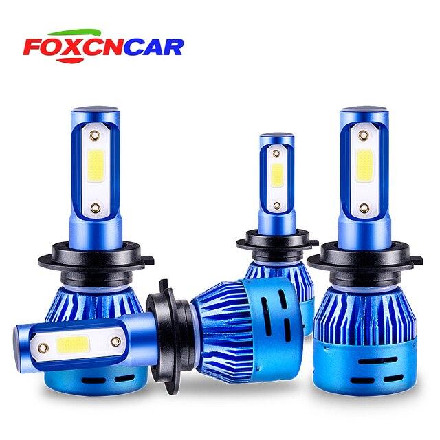 Foxcncar 2PCS LED H7 Car Headlight H4 LED H4 H11 H1 9005 HB3 9006 HB4 High beam Low beam 8000LM 12V Mini 6500K COB Chip 72W 24V