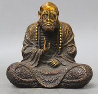 Chinese Fane Old Copper Bronze Gild Bodhidharma Damour Dharma DaMo Buddha Statue