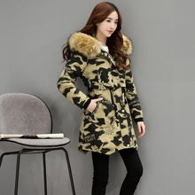 Winter Women Cotton Jacket New Fashion Hooded Thicken Super warm Medium long Camouflage Coat Casual