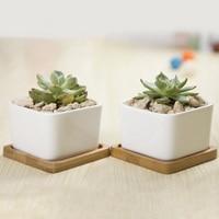 2 pcs Square Shape White Ceramic Succulent Plant Pot Porcelain Flower Pot Desktop bonsai pots with Bamboo Tray garden decoration