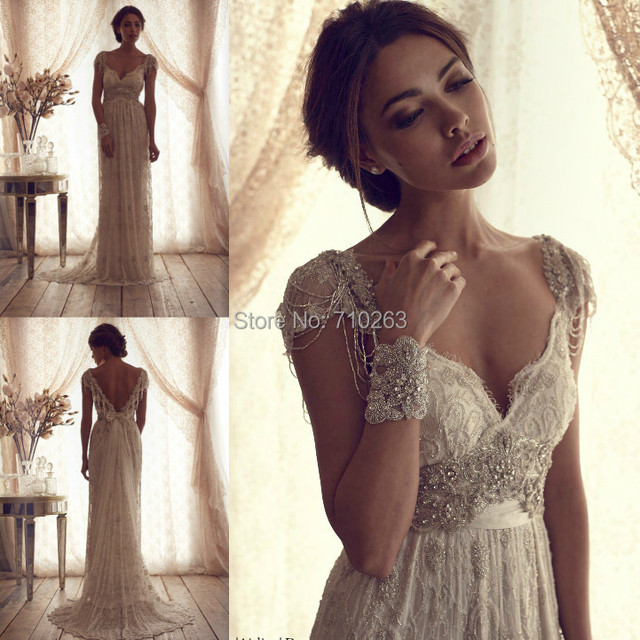 Vintage Ivory Lace Wedding Dress 2016 High Quality Elegant Sexy A Line V Neck Short Cap Sleeves Sparkle Crystal Bead Bridal Gown