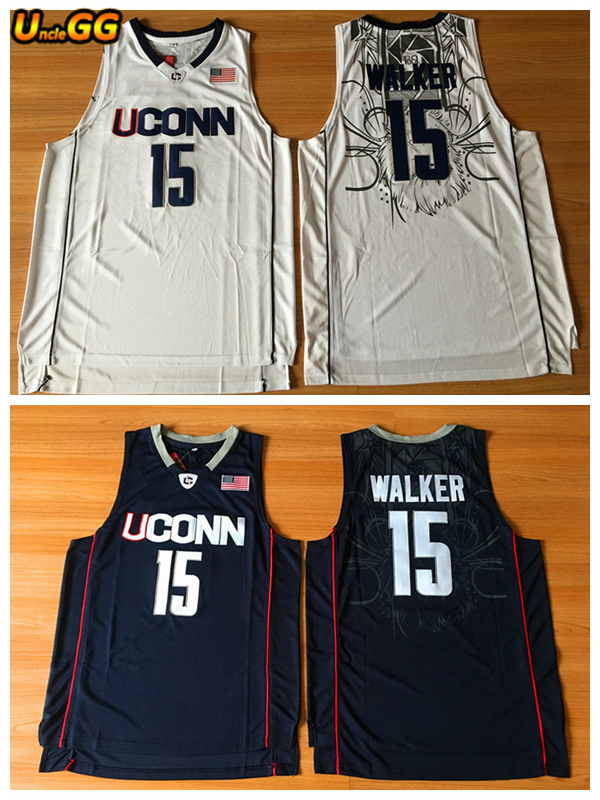 sneakers for cheap 5f690 7e09b Uncle GG Uconn 15 Huskies Kemba Walker Jersey Retro Home White For Men  Embroidery Cheap College Basketball Jersey-in Basketball Jerseys from  Sports & ...
