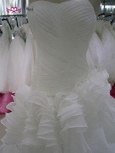 Image 4 - Vestidos de novia de sirena con volantes Falda plisada vestido de novia de sirena blanco puro 2020 vestido de novia de marca Africana W0153