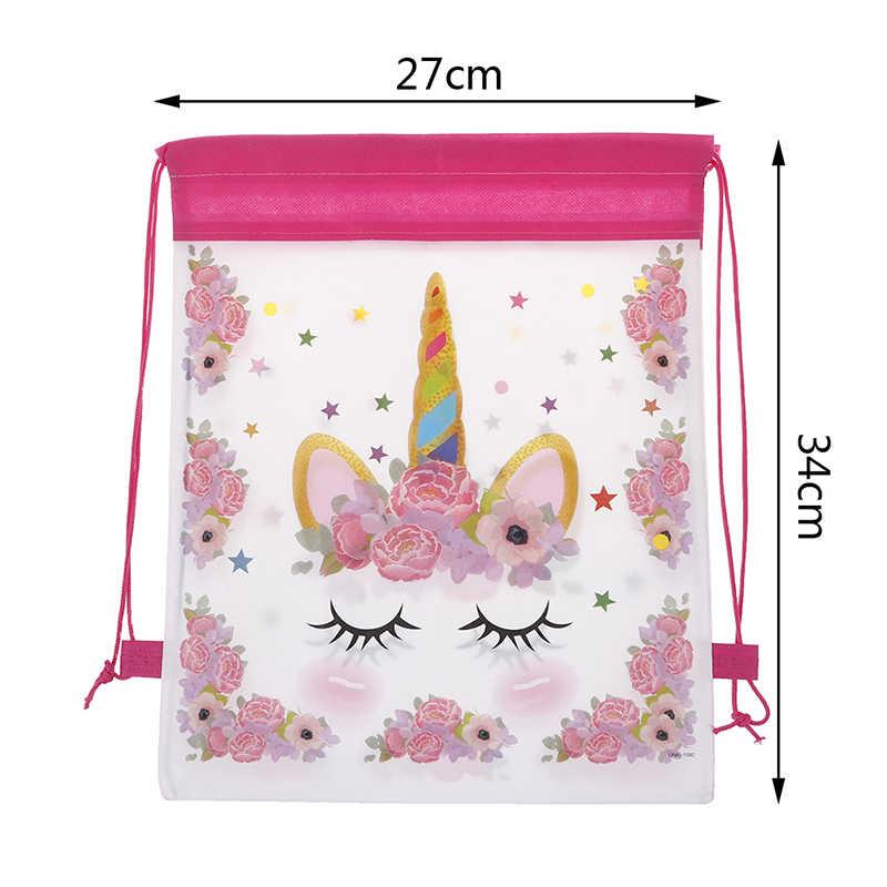 Jednorożec torba ze sznurkiem dla dziewczynek woreczki podróżne pakiet Cartoon School plecaki upominki na przyjęcie urodzinowe dla dzieci