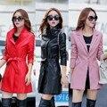 Mujeres de la chaqueta de cuero genuino ropa femenina primavera y el otoño de piel de oveja medio-largo fosa de abrigo en negro rojo rosa amarilla