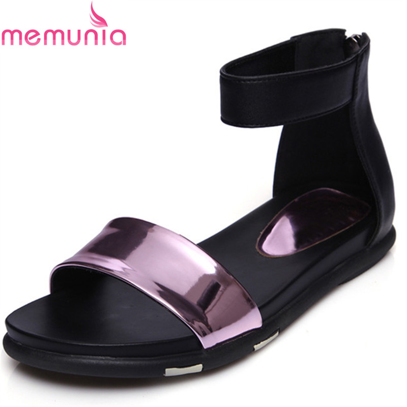 MEMUNIA SIZE 34-42 NEW fashion high quality women sandals flat summer female casual shoes genuine leather sandals