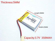1pcs 3 7V 350mAh 502530 Lithium Polymer Li Po Rechargeable Battery For DIY Mp3 GPS PSP
