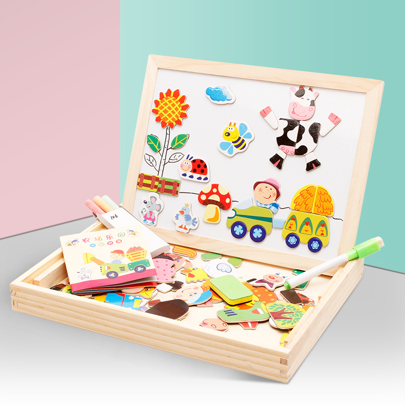 Creativity Wooden Toy Educational Puzzle Farm Jungle Animal Children Jigsaw Baby Magnetic Drawing Easel Board Paint Scratch Arts