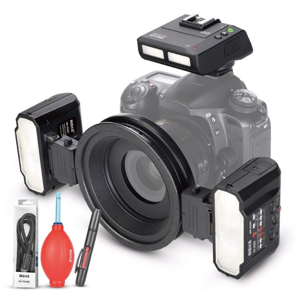Meike MK-MT24 macro twin lite speedlight flash para nikond3100 d3200 d3400 d5000 d5300 d5500 d7000 d7100 dslr câmeras + presente