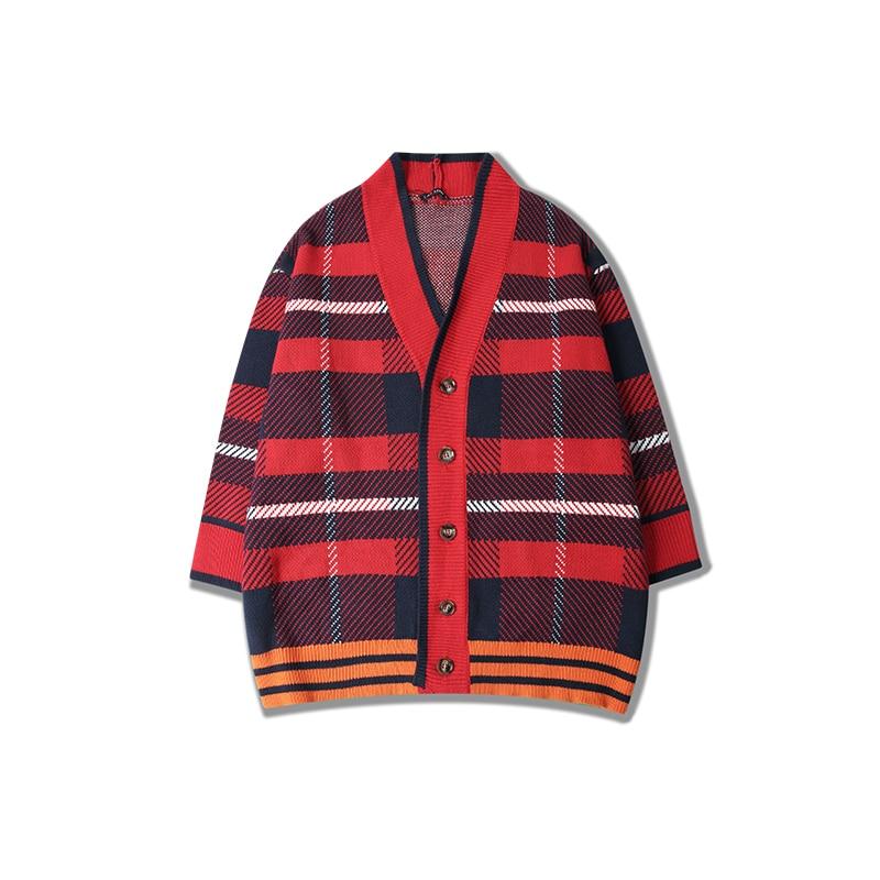 Camisola Homens Blusa Masculina Moda Hip Hop Kpop ropa Xadrez Outono Inverno Cardigan de Grandes Dimensões cardigan masculino N-neck Blusas