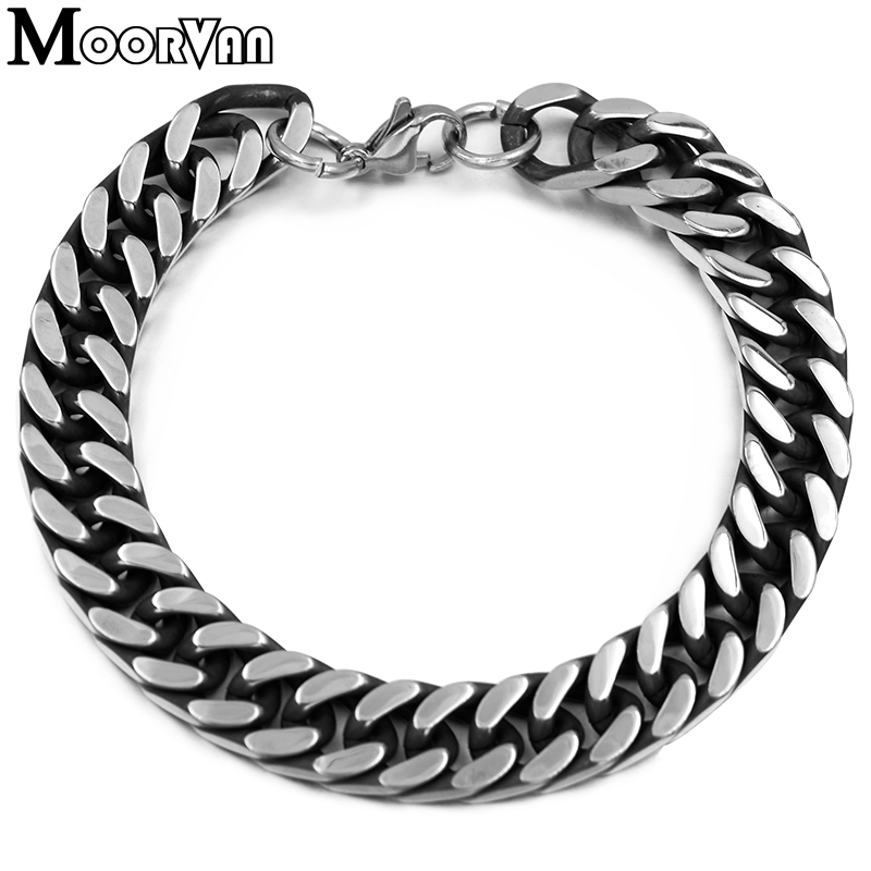 Moorvan Retro Vintage Style 2019 New Men Bracelet 8mm / 10mm Link Chain Motorcycle Man Jewelry, Stainless Steel Bracelet VB101