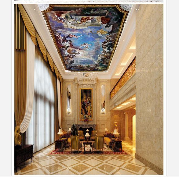 Customized 3d wallpaper 3d ceiling wallpaper murals for Decoration cost per m2