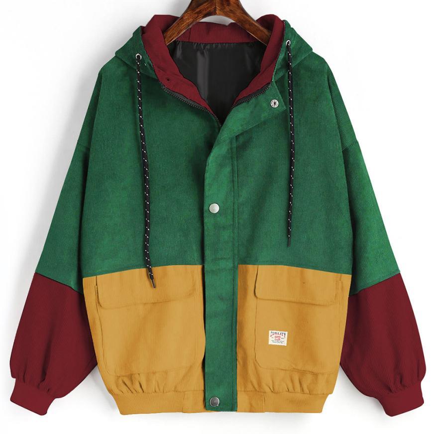 Women Long Sleeve Corduroy Patchwork Oversize Zipper Jacket Windbreaker Coat Overcoat
