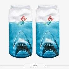 Harajuku Mermaid Printed Student/Teenager White Socks 3d Digital Print Women Girls Men Funny Anklet Socks
