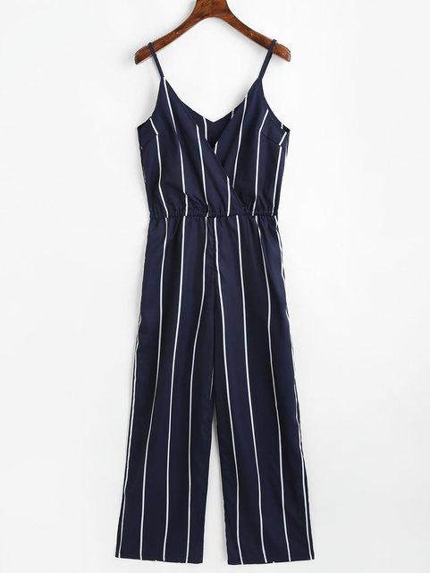 07b9bc8f143 Kenancy Women Striped Jumpsuit Spaghetti Strap Sleeveless V-Neck Romper  Casual Women Jumpsuits Summer Female