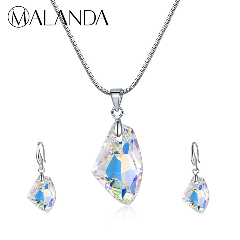 MALANDA Fashion Crystal From Swarovski Set Necklace Earrings For Women Jewelry Sets Wish Stone Wedding Party Gift Accessories все цены