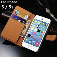 For Apple IPhone 5 5s Luxury Case Split Flip Leather Phone Protective Sleeve Cards With Stand