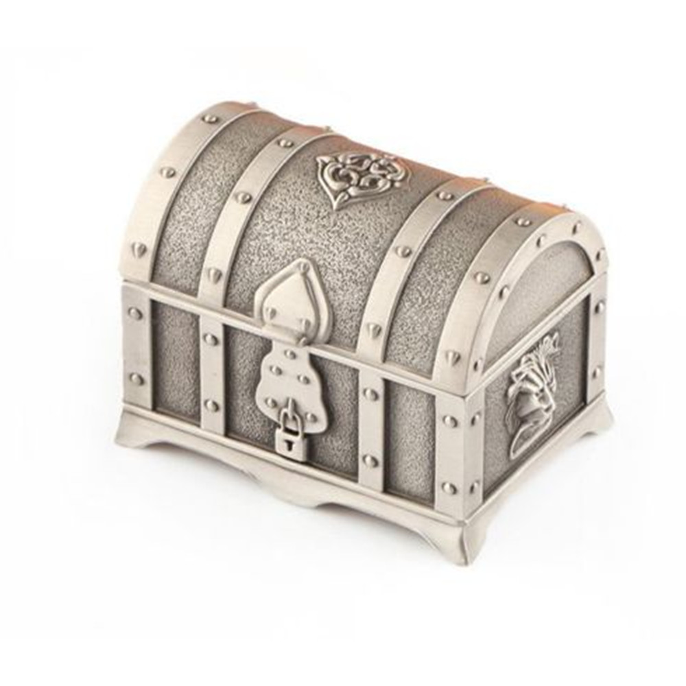 Small Treasure Chest Treasure Hunting Box Jewelry Trinket Box Pirate Box Storage Container Case Vintage Design Zinc Alloy Toy image