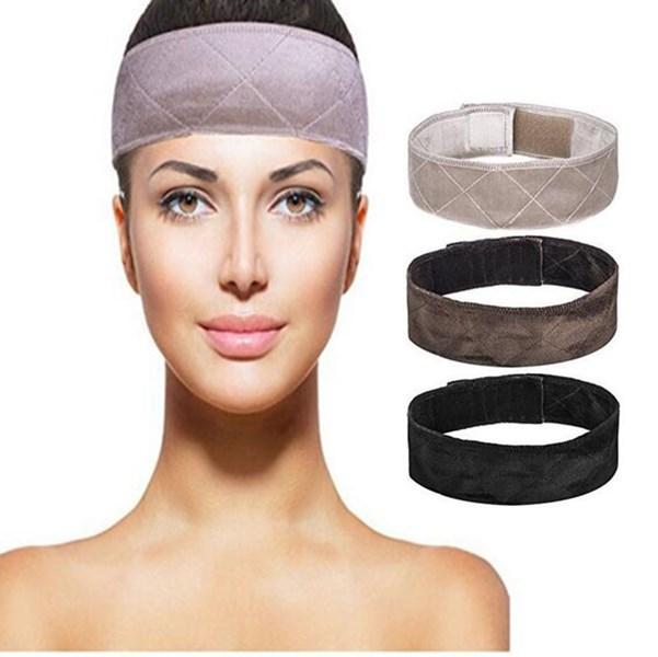 Nueva llegada hecho a mano antideslizante banda de agarre de peluca con doble cara de terciopelo ajustable peluca diadema en marrón/Negro/Rubio